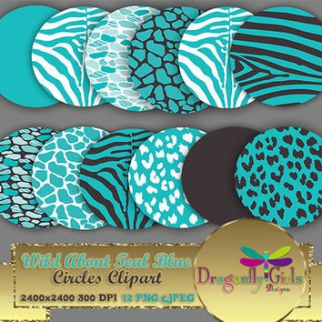 "80% OFF Sale WILD About Light Teal 8"" Clip Art, commercial use, digital scrapbook papers, vector graphics, printable, Instant Download"