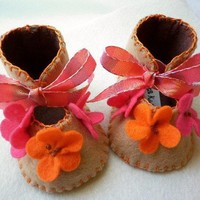 Taupe baby girl crib shoes with handmade by FiestaKidsBoutique