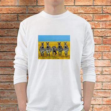 Zebras In Field Wild Animals Long Sleeve T-Shirt