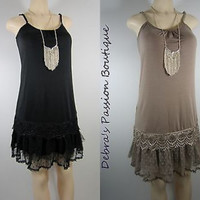 RYU Slip dress- Romantic Knit Ruffled Tunic Lace-Cocoa or Black