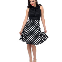 1950s Style Black & White Polka Dot High Waisted Knit Swing Skirt