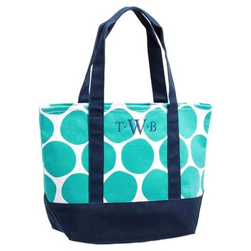 Surf Swell Beach Tote, Pool Oversized Dot/Navy Trim