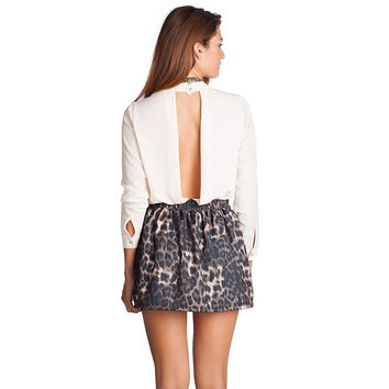 Q2 STORE Beige Chiffon Plunge Body with Open Back