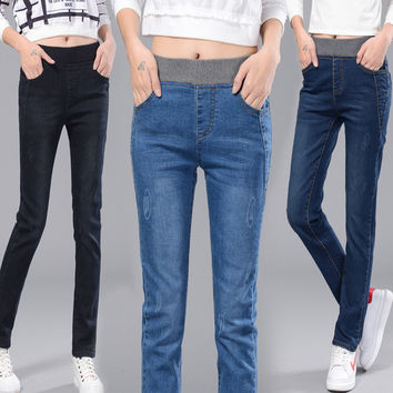 Straight Jeans Elastic Slim  Plus Size Thick Jeans
