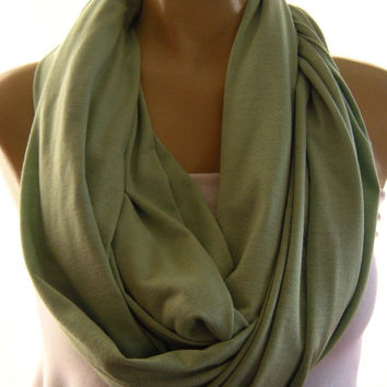 Green Celery green Jersey scarf  Infinity scarf Nomad Cowl Green Eternity Loop Scarf-Super soft.