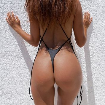 Sexy Thong One Piece Swimsuit 2018 Bandage Backless Women Push Up T Back Brazilian Beach Wear Swim Suit Swimwear