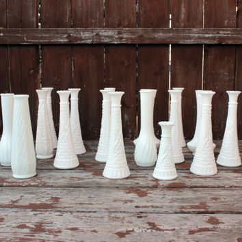 Vintage Milk Glass Vases | DIY Wedding & Baby Shower Decor | Instant Collection | Tablescape Supply | 16 Large, 1 Small