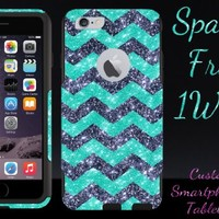 "iPhone 6 Case - OtterBox Commuter Series - Retail Packaging - 4.7"" iPhone 6 Glitter Smoke Chevron Wintermint/Black"
