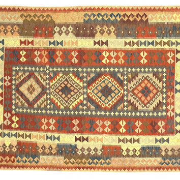 "5'8""x8'4"" Jaye Kilim, Red/Beige, Area Rugs"