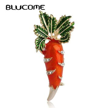 Blucome Cute Orange Carrot Brooch Enamel Green Leaves Gold-color Pins Suit Scarf Clothes Corsage Jewelry Women Men Kids Gifts