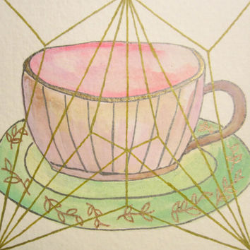 Mixed media, Drawing, Gouache, Tea Cup, Flowers, Original, Paper, Small, Metallic, Sketch, Pink, Artwork, Teal, Purple, Geometric