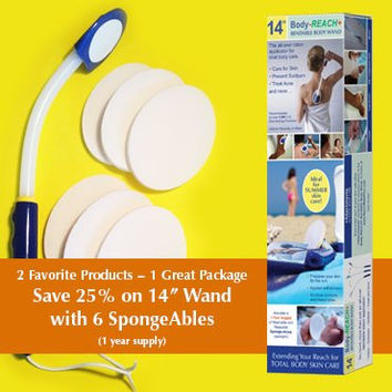 "14"" Body-Reach+ Bendable ""Unbreakable"" Lotion Applicator includes: (6) SpongeAbles or (1) Year Supply!"
