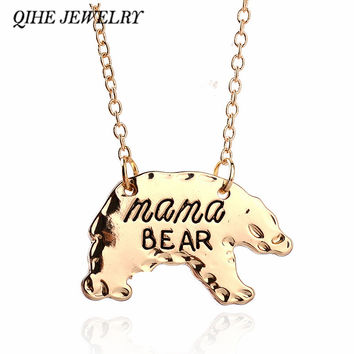 QIHE JEWELRY Gold Silver Tone Personalized Mama Bear Necklace Mother Bear Mama Necklace Mothers Day Gift For Mom Fashion Jewelry