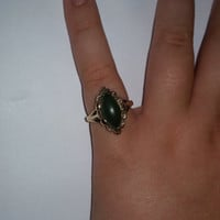 Vintage 10 Karat Gold Ring with Marquise Cut Jade Stone