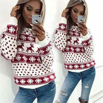 Winter Snowflake Christmas Reindeer Sweater