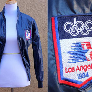 Vtg 80's Windbreaker Los Angeles Olympics Shiny Warm Up Jacket Coat Small XS Navy Zip Up drawstring Hood