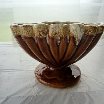 Vintage Hull pottery brown drip glaze Ohio planter bowl