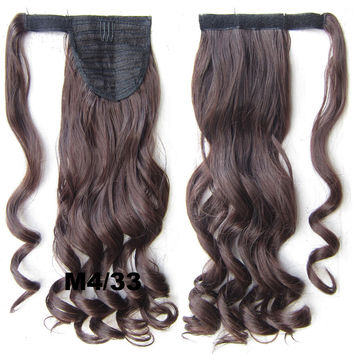 Ponytail Hair Extension Heat Proof Synthetic Wrap Around Invisable Long wavy Velcro Ponytail Hair Extension Clip In on Hair Pony Tail,Wig Hairpiece,woman wigs,wig hairs,Bath & Beauty,Accessories BIP-888 M4/33