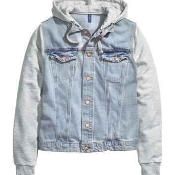 H&M - Hooded Denim Jacket - Light denim blue - Men