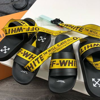 OFF WHITE C/O VIRGIL ABLOH 19SS Arrow letters yellow slippers+OFF Belt WHITE Women Men yellow+Black Word Belt