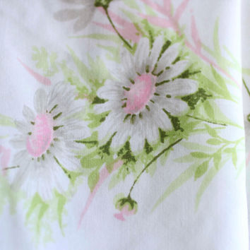 Vintage Twin Bed Sheet - Pink and Green Daisy Sheets - Springmaid