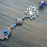 hamsa lotus belly ring BLUE lotus flower  evil eye  zen yoga  Moroccan boho  new age gypsy hippie belly dancer beach and hipster style