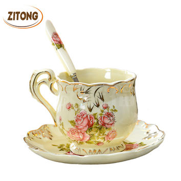 High Quality Ivory Porcelain Elegant Coffee Cups And Saucer Ceramic Mugs Luxury British Style Afternoon Tea Cup Set