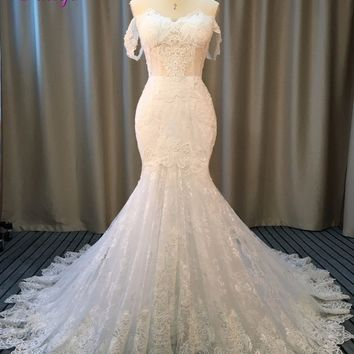 Fmogl New Design Glamorous Appliques Lace Mermaid Wedding Dress 2018 Romantic Sweetheart Princess Wedding Gown Robe De Mariage