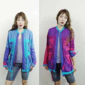 80s reversible jacket - vintage 1980s pink magenta blue coat outerwear - women small medium large - color block cotton - Found by Me Vintage