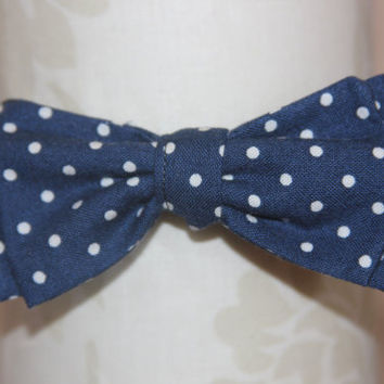Navy White Polka Dot Adjustable Bowtie (Baby / Infant / Toddler Boy)