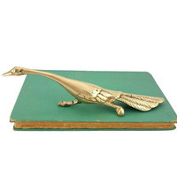 Brass Roadrunner Figurine Vintage Bird Animal Statue Southwestern Desert Boho Home Office Decor