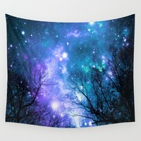 Black Trees Violet Teal Space Wall Tapestry by 2sweet4words Designs