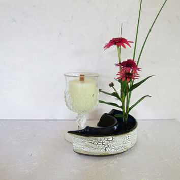 Pure white beeswax candle in a vintage Chrystal wine glass, beeswax candle in a wine glass with wooden wick