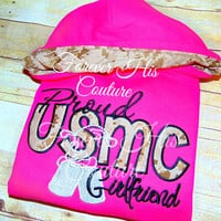 Proud USMC Girlfriend Pullover. Marine Mom Marine Wife Usmc Mom Usmc Wife Marine Girlfriend Military Girlfriend Milso Nametape bows Bracelet