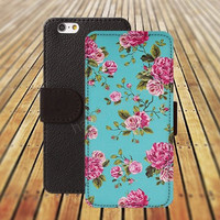 iphone 5 5s case blue pink flowers Retro pattern iphone 4/4s iPhone 6 6 Plus iphone 5C Wallet Case,iPhone 5 Case,Cover,Cases colorful pattern L340