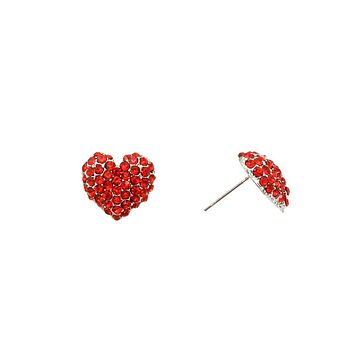 Red Stone Heart Silver Earrings
