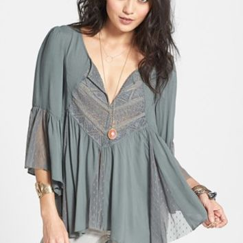 Free People 'Sweeter Emotion' Mesh Inset Peasant Top | Nordstrom