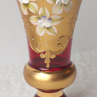 Bohemian Ruby Red Gold Enamel Vase with Handpainted Moriage Flowers, Murano or Moser Glass Style Crystal