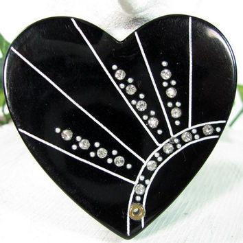 Vintage RHINESTONE HEART Mirror Sliding Fan Folding Purse Art Deco Black