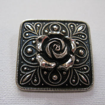 Silver Plated Vintage Rose Scarf Clip - Silver Plated Vintage Scarf Ring - Silver Plated Vintage Scarf Pin - Vintage Silver Scarf Holder