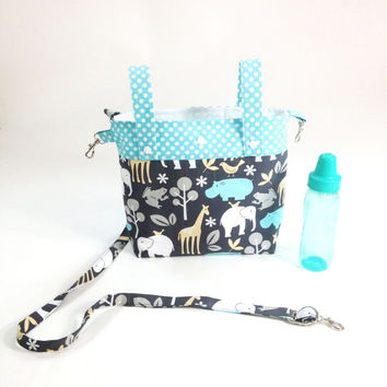 Jungle print baby stroller bag converts to shoulder bag diaper bag inside pockets adjustable strap key holder animal print bag baby gift