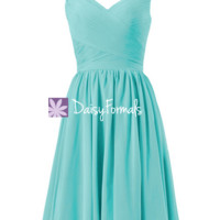 Elegance Tiffany Blue Bridesmaid Dress V neckline Bridesmaid Dress (BM5196S)