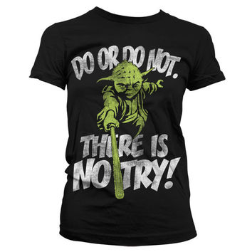 There Is No Try - Yoda Girly T-Shirt (Black)