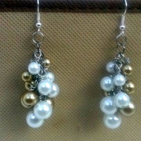 Gold and White Cluster Earrings , cluster earrings , pearl earrings , fashion jewelry