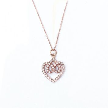 Infinity hearts lock knot diamond pendant necklace rose gold 57a6a9d3e3