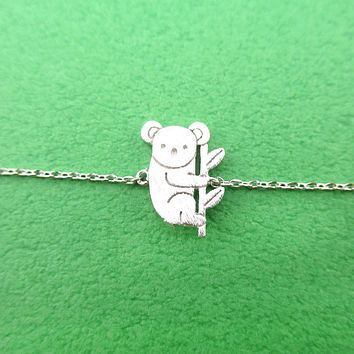 Koala Bear on a Branch Shaped Animal Charm Bracelet in Silver
