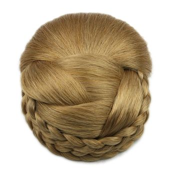 Soowee 6 Colors Synthetic Hair Braided Clip In Hair Bun Chignon Hairpiece Donut Roller Hairpiece