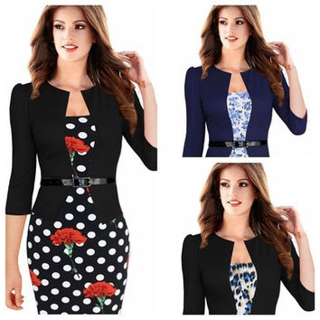 Plus Size Women Lady Elegant Printed Business Office OL Floral Package Hip Dress [9221640260]