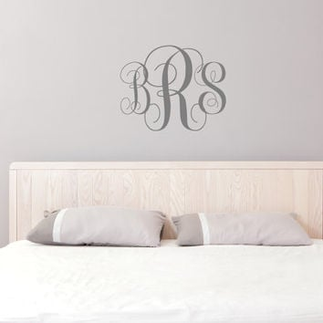 Monogram Wall Decal - Personalized Initials - College Dorm Room - Monogrammed Wall Vinyl Decal Custom Monogram - Monogram Letters For Wall