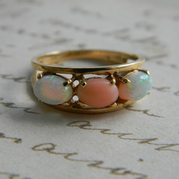 Vintage OPAL CORAL Ring 14k Solid Yellow Gold Band October Birthstone Ring